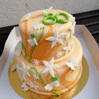 Oranžový s květy a motýly