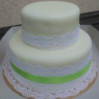 Svatební dort s Krajkou a mašlí